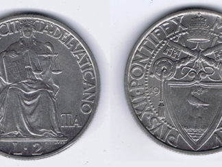 VATICAN 2 LIRE COIN of WORLD WAR II (1942) DATED to COINCIDE with POPE PIUS XII DENOUNCING (CHRISTMAS SPEECH) ETHNIC CLEANSING & EXTERMINATION