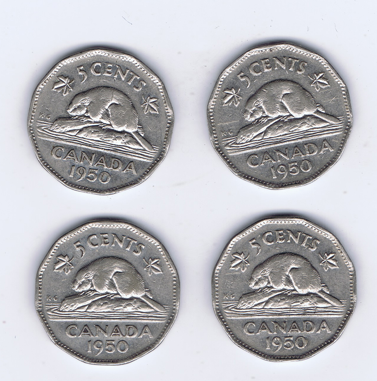 Canada 1950 Nickel Pictures George VI & Beaver - Roll of 40