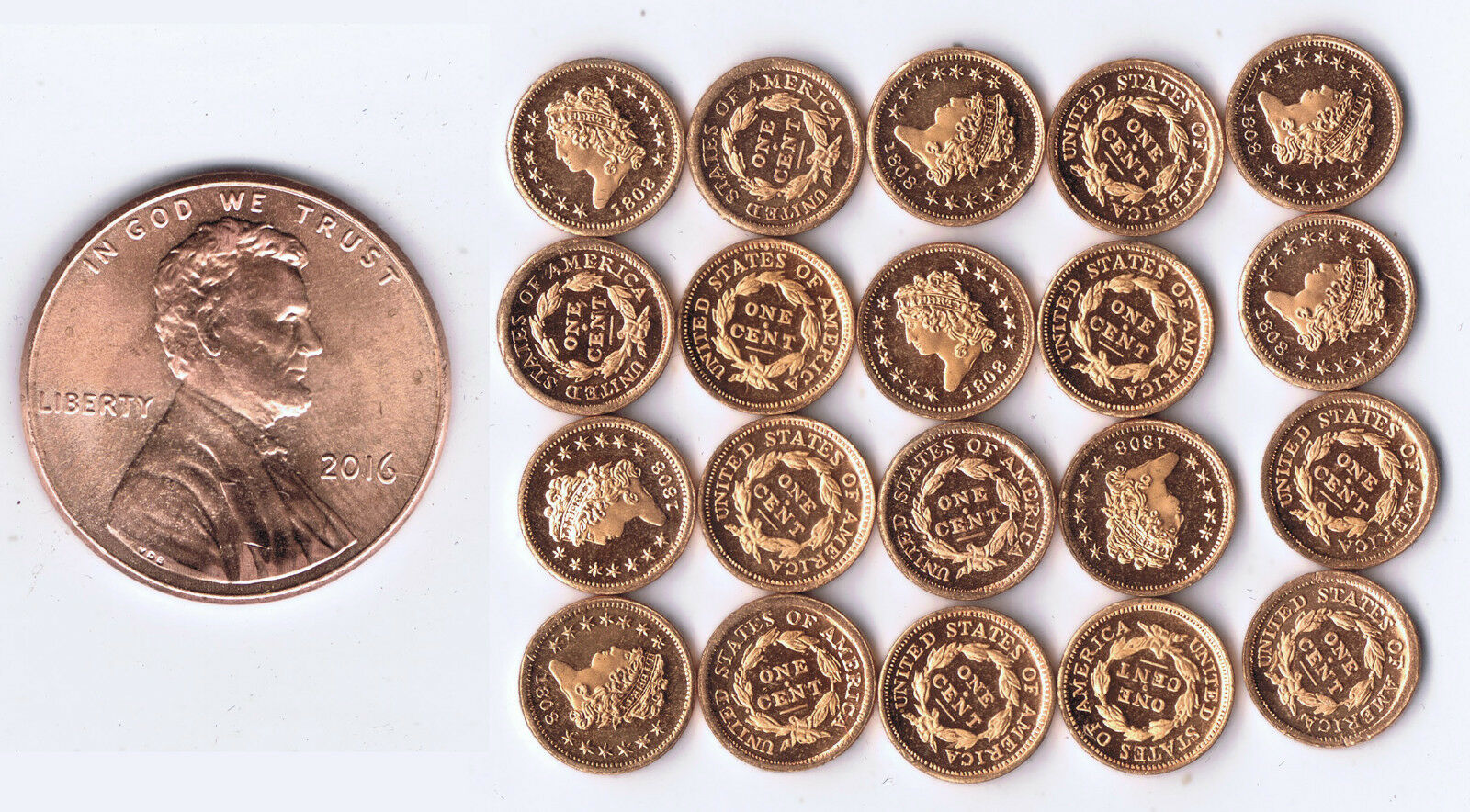 WHOLESALE USA 1808 CLASSIC CENT 20 PIECES FRANKLIN MINT HIGH QUALITY MINI PROOFS