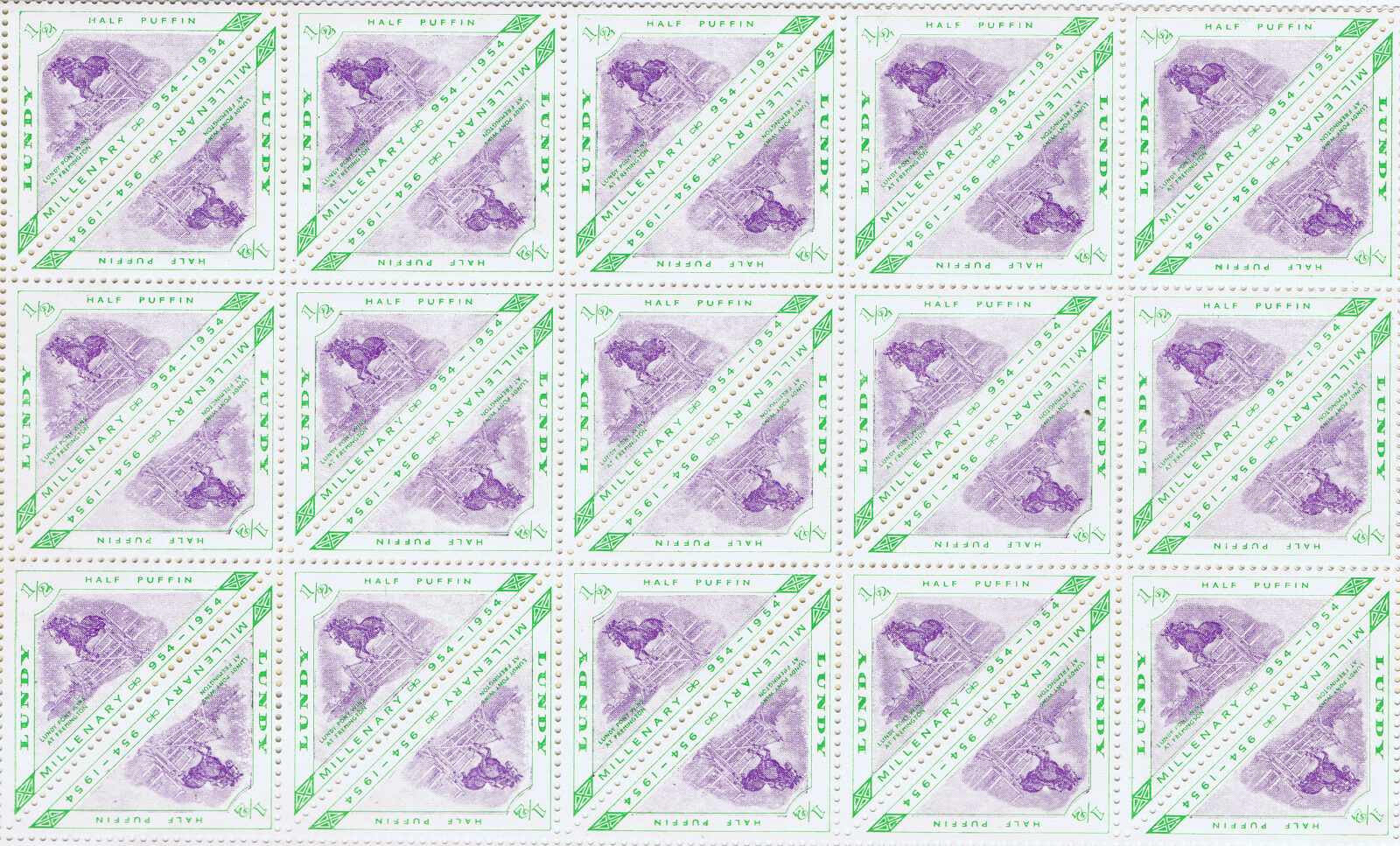 WHOLESALE 500 LUNDY MILLENARY 954 - 1954 PONY WINS at FREMINGTON 1/2 PUFFIN MNH