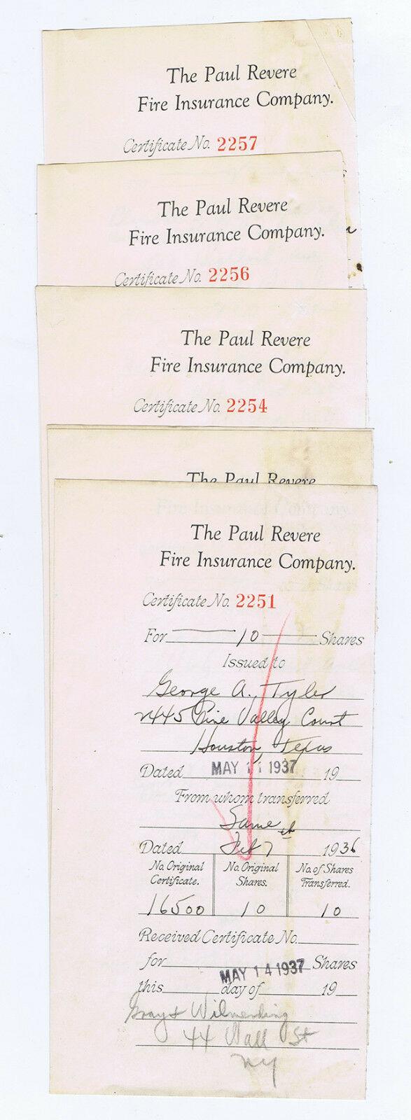 WHOLESALE 100 PAUL REVERE FIRE INSURANCE CO. SHARES COUNTERFOIL DEPRESSION 1937