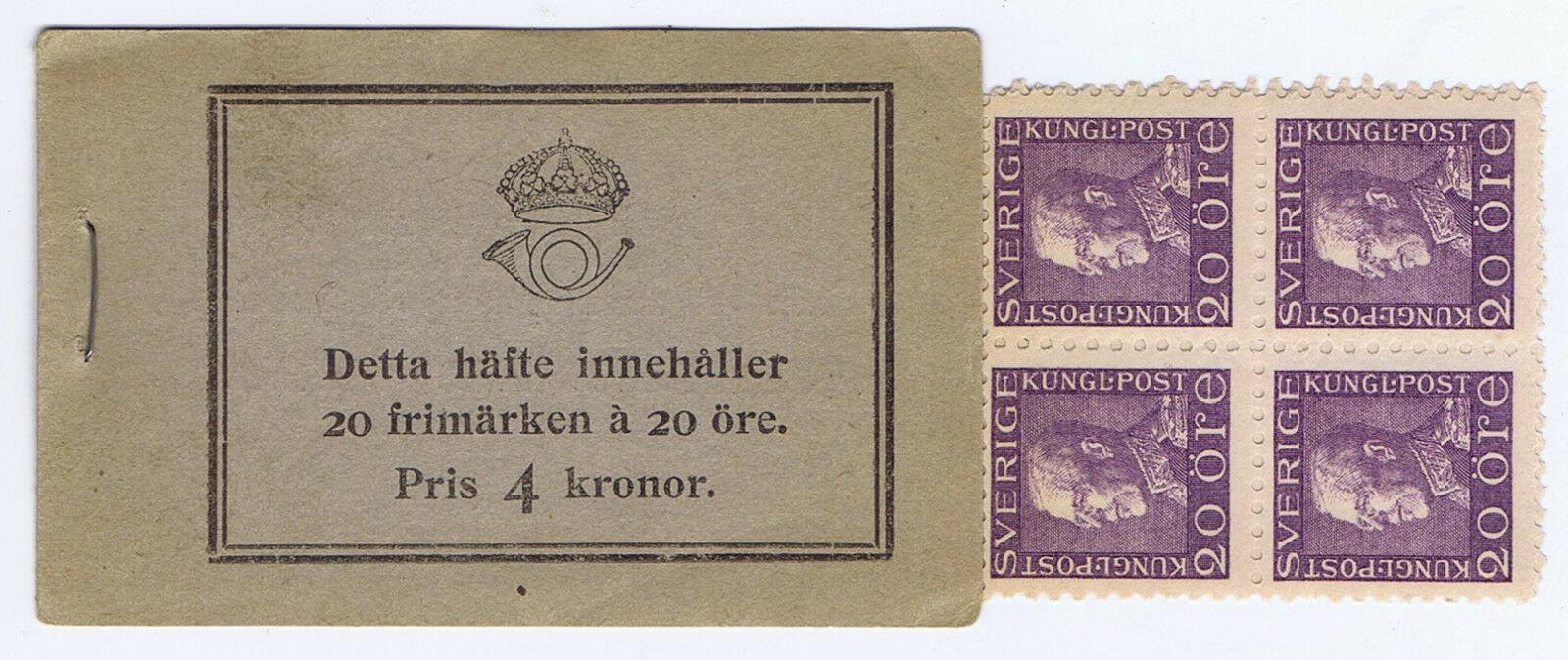 WHOLESALE - 5 SWEDEN 4 KRONER BOOKLETS of 20 ORE STAMPS SC # 170 MNH of 1921