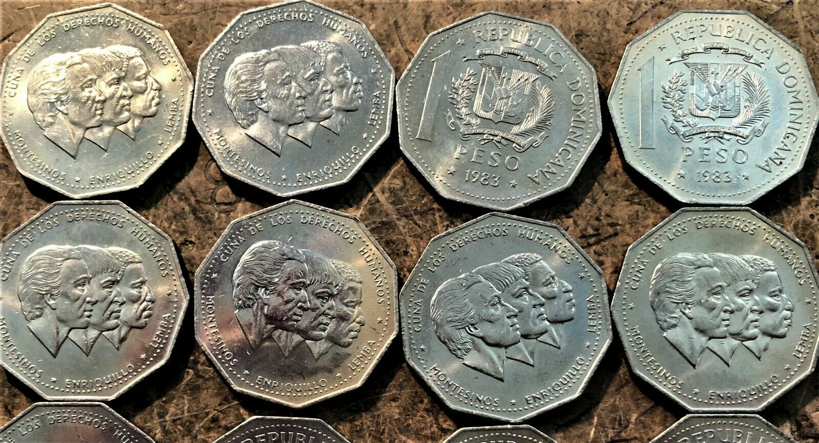 Wholesale 10 UNC Multi-Sided Human Rights Coins; Dominican Rep 1 Peso KM # 63.1