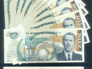 WHOLESALE MEXICO Pick 95 SHORTEST LIFE 10 NEW PESOS NP x 5 CONSECUTIVE UNC 1992