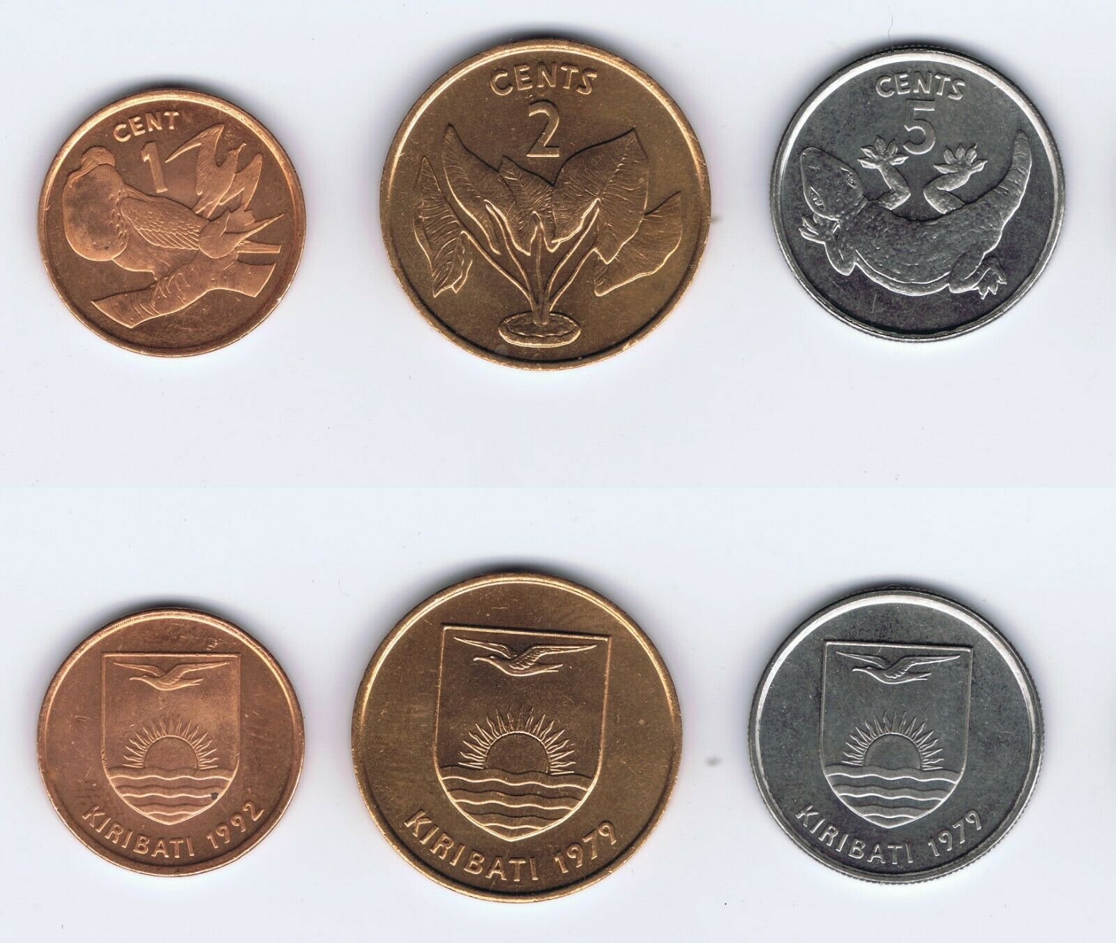 WHOLESALE 100 KIRIBATI UNC 1-2-5 CENTS COINS SHORT SETS DATED 1992 & 1979