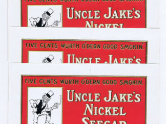 WHOLESALE 8 UNCLE JAKE'S NICKEL SEEGAR EMBOSSED 1925 INNER BOX LABEL JUDAICA