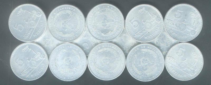 WHOLESALE 100 MOZAMBIQUE 5 METICAIS COINS #101 UNC 1982