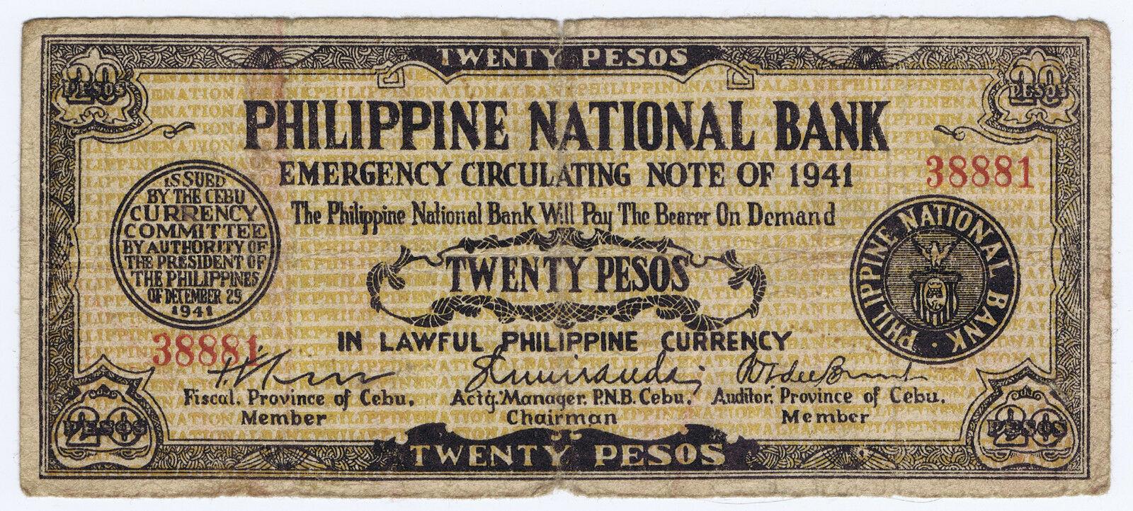 WHOLESALE 100 PHILIPPINES 20 PESOS CEBU GUERILLA of WWII PICK # S 218 NICE CIRC