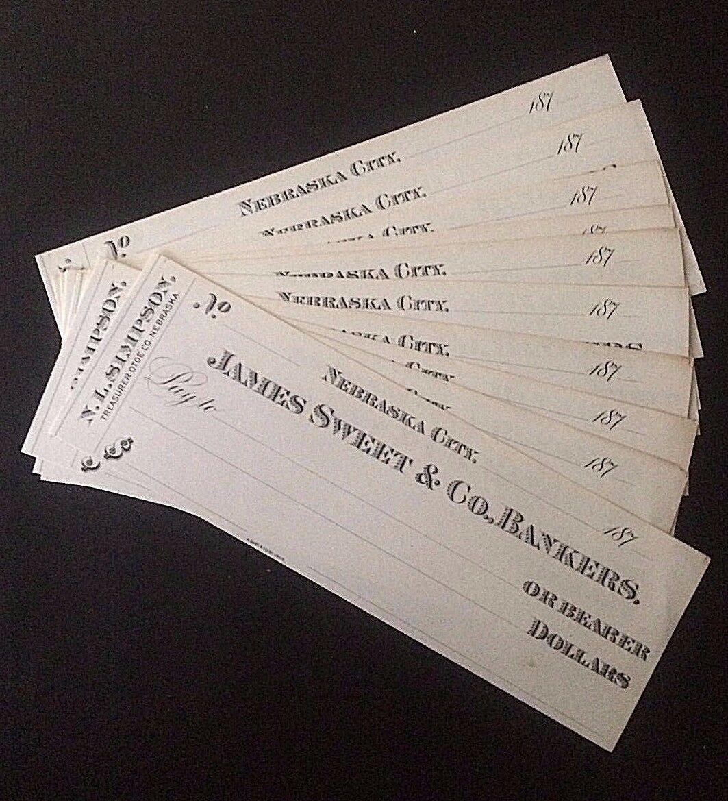10 NEBRASKA CITY JAMES SWEET CHECKS of the 1870's PRINTED by AUG. GAST ST. LOUIS