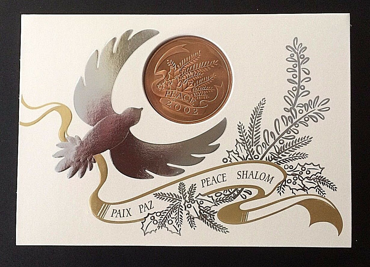 Box of 6 Unused Franklin Mint Holiday Cards with RADAR YEAR 2002 Peace Medal UNC