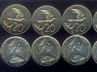 WHOLESALE 10 TERN BIRD in FLIGHT & QEII COINS ( 20¢ ) of 1983 COOK ISLANDS KM# 5