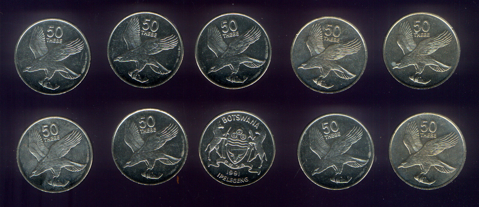 WHOLESALE 25 UNCIRCULATED EAGLE with FISH COINS 50 THEBE KM# 7a BOTSWANA of 1991
