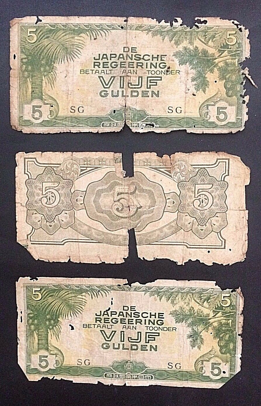 24 JAPAN MILITARY OCCUPATION WWII 1942 USED 5 GULDEN NETHERLANDS INDIES P# 124