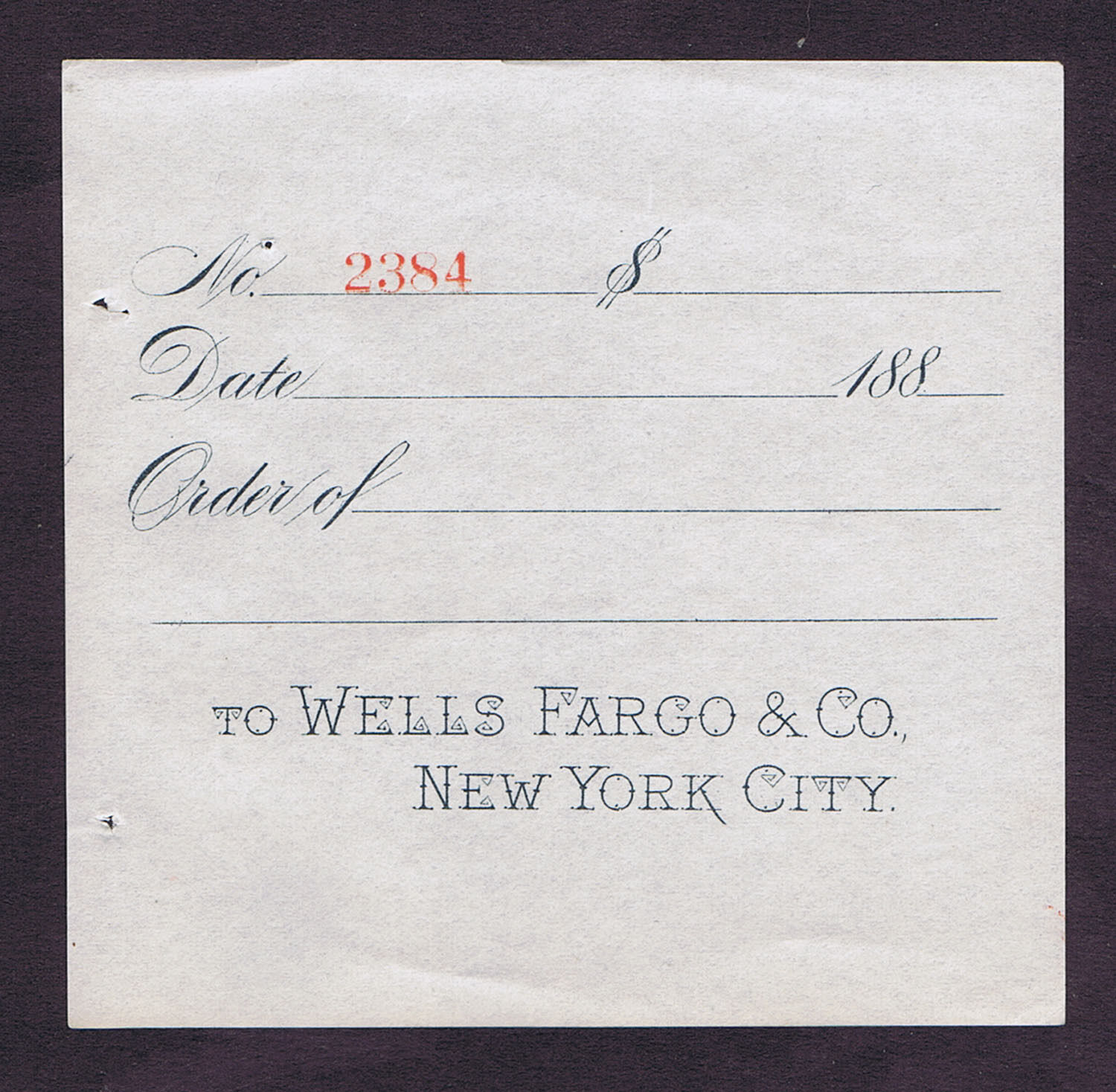 WHOLESALE 5 WELLS FARGO NEW YORK BLANK STUBS PRINT by PARSONS of HOLYOKE in 1883