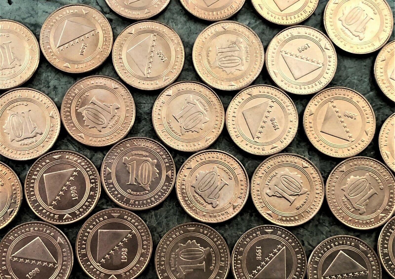 WHOLESALE 100 BOSNIA HERZEGOVINA 10 FENINGA UNC COINS of 1998 with MAP KM # 115