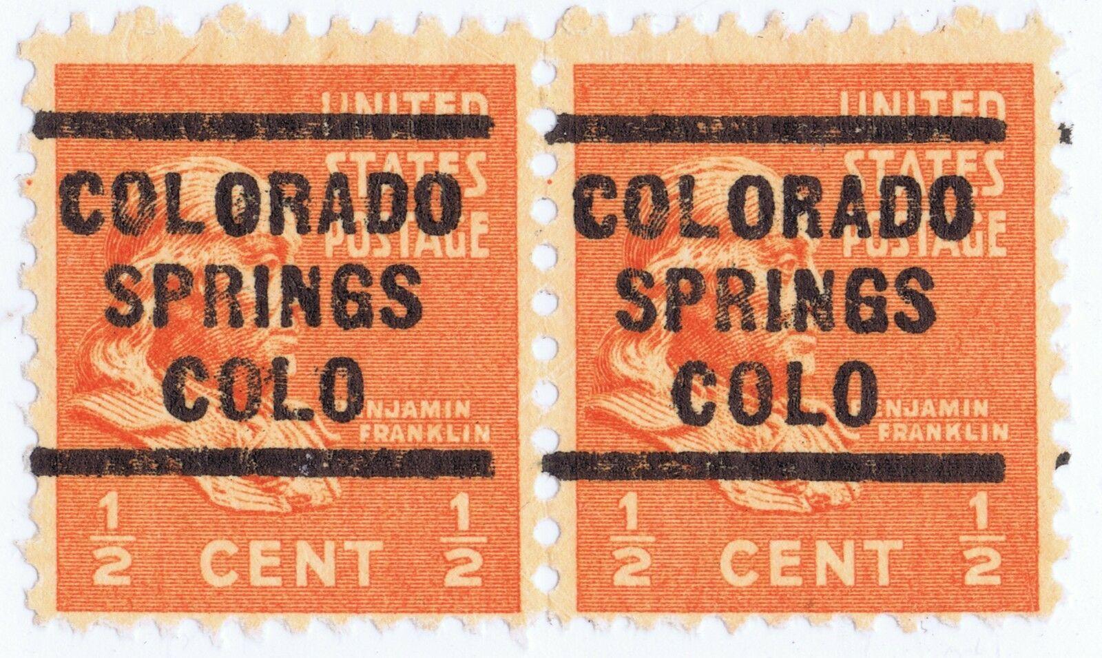 COLORADO SPRINGS (HEAVY O's TYPE) PRECANCEL PAIR on 1/2¢ BENJAMIN FRANKLIN MNH
