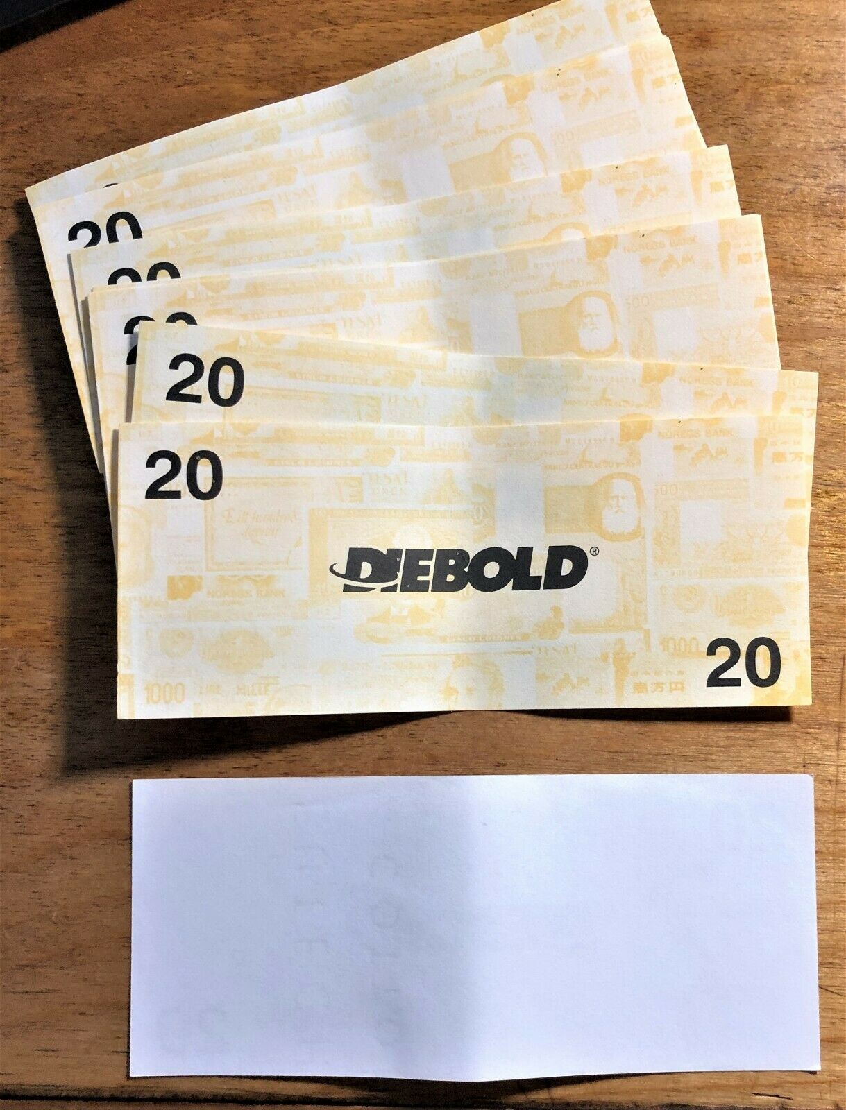 WHOLESALE 10 DIEBOLD ATM TRAINERS PICTURING PRE-EURO WORLD NOTES DENOMINATED 20