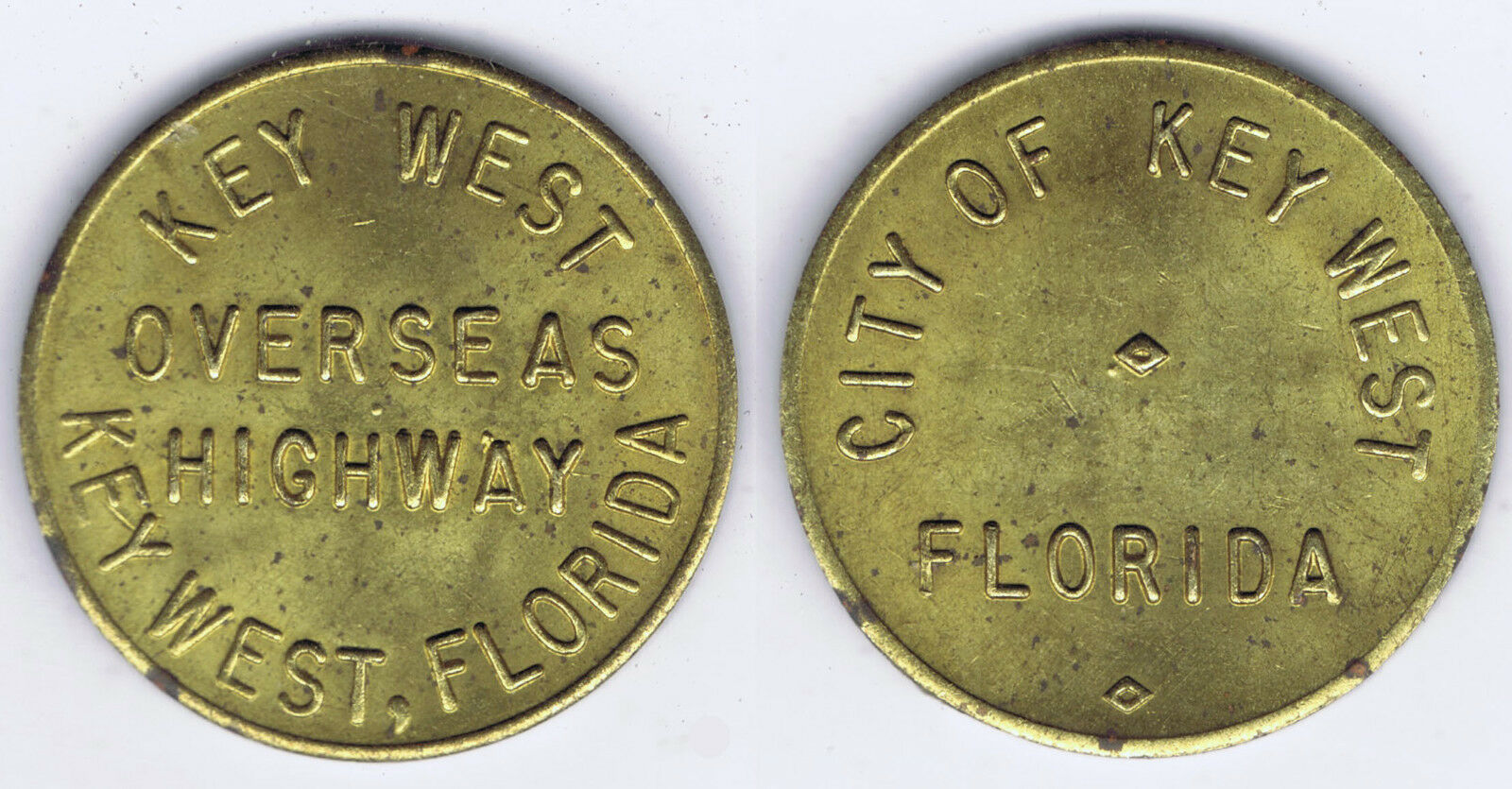 WHOLESALE TEN (10) KEY WEST FLORIDA OVERSEAS HIGHWAY TOKEN with METAL SPOTTING