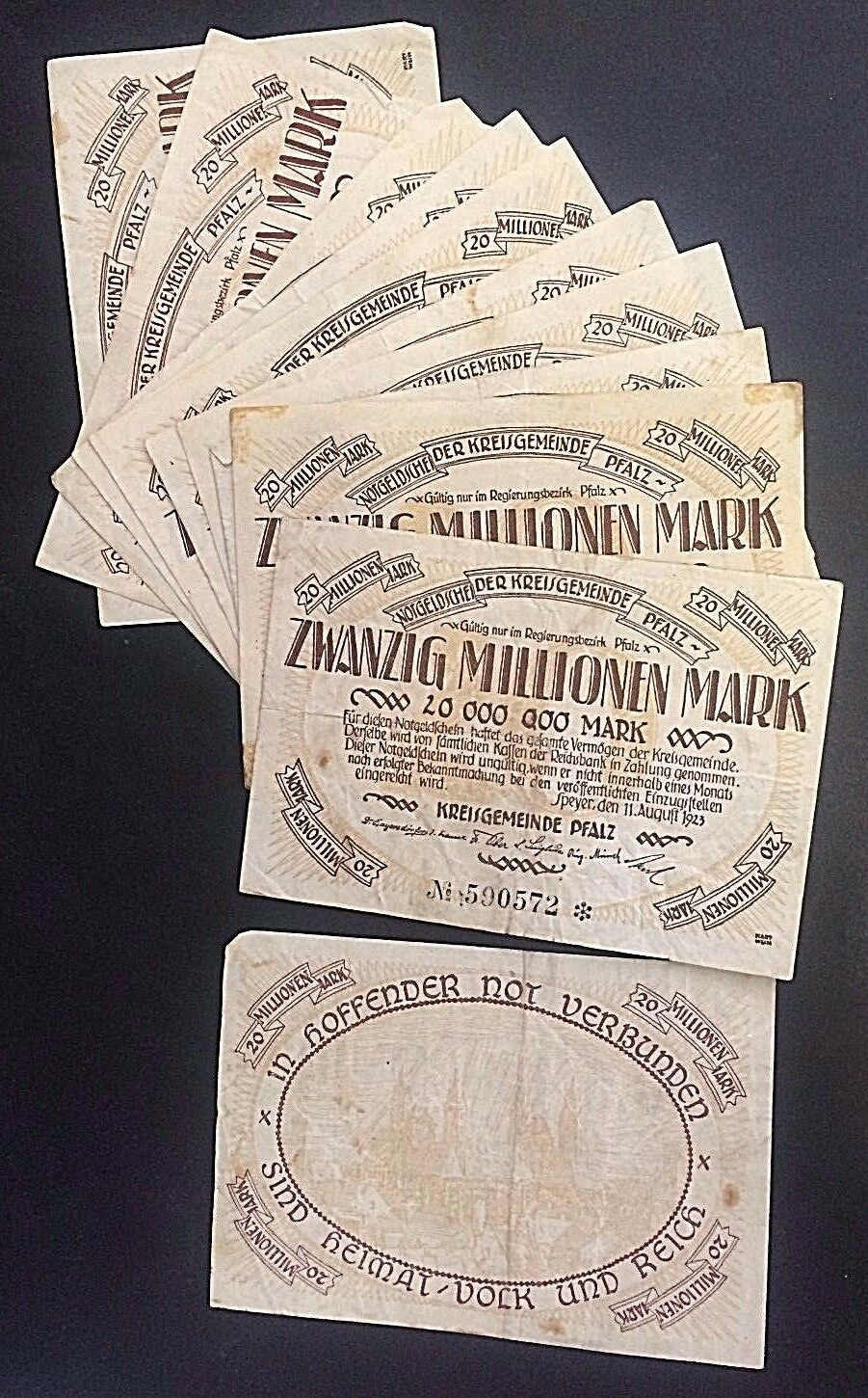 WHOLESALE - 20 GERMANY SPEYER 20 MILLION MARKS of 1923 TOWN in EGG SHAPE CIRC