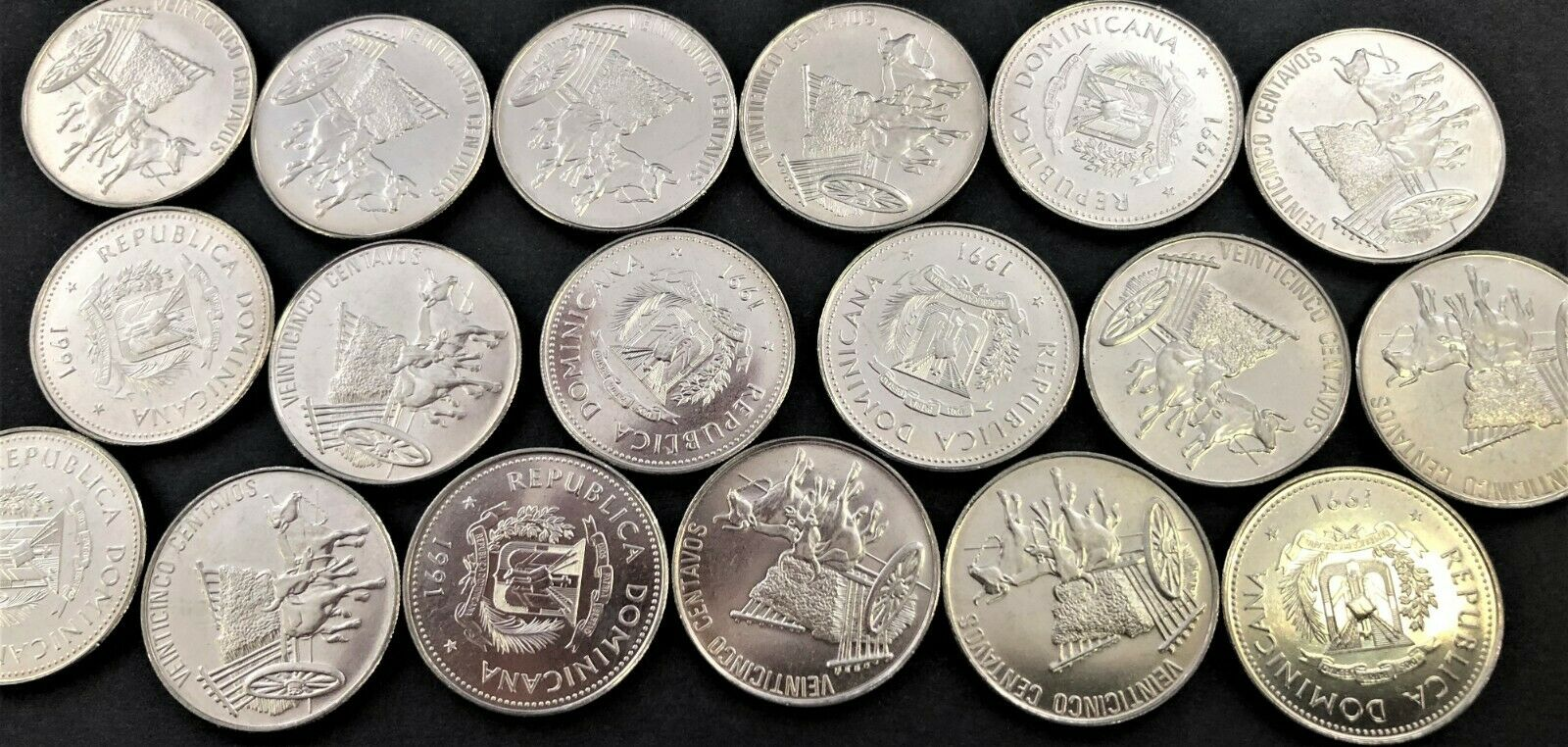 Wholesale 20 UNC Coins Dominican Rep 25 Centavos KM# 71.1 of 1991 with ox & cart