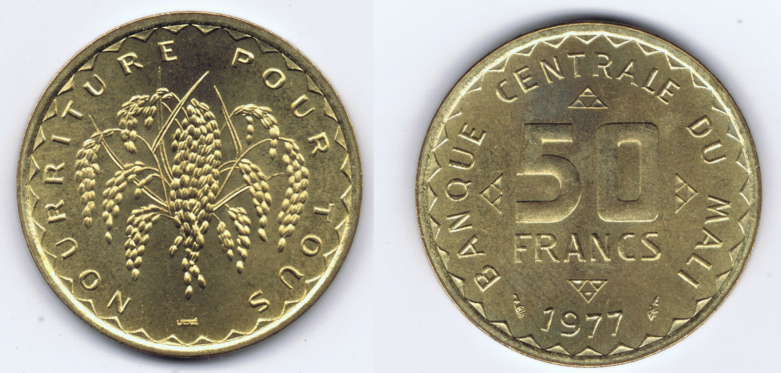 WHOLESALE 10 UNCIRCULATED MALI FAO 50 FRANCS COINS 1977 KM# 9 FOOD & AGRICULTURE