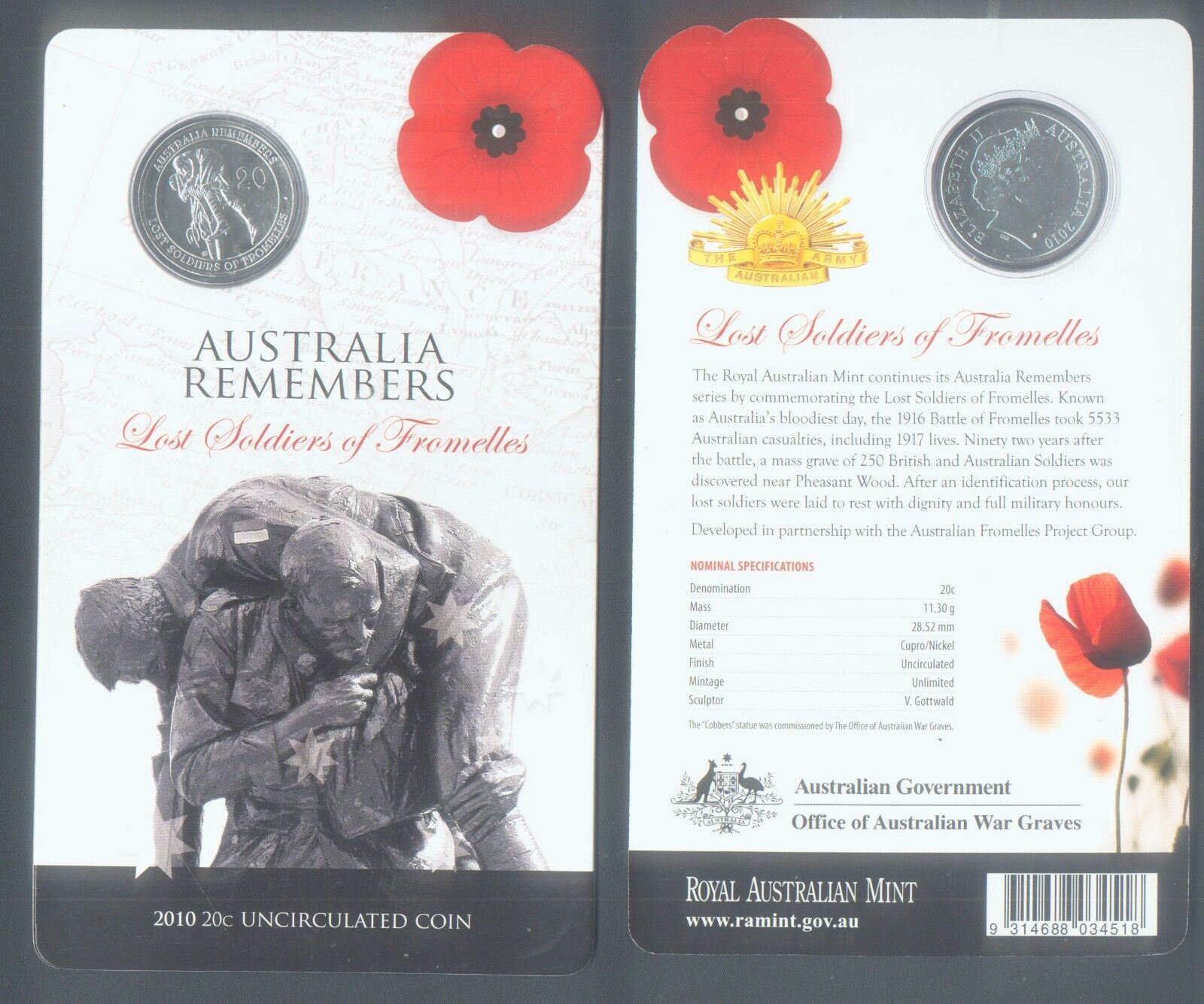 WHOLESALE 10 AUSTRALIA COIN LOST SOLDIERS OF FROMELLES of WWI on INFO CARD 2010