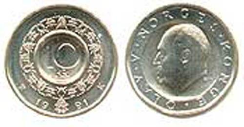 WHOLESALE - NORWAY 10 KRONER ORIGINAL BANK WRAP ROLL (25 COINS) UNC 1991 KM 427