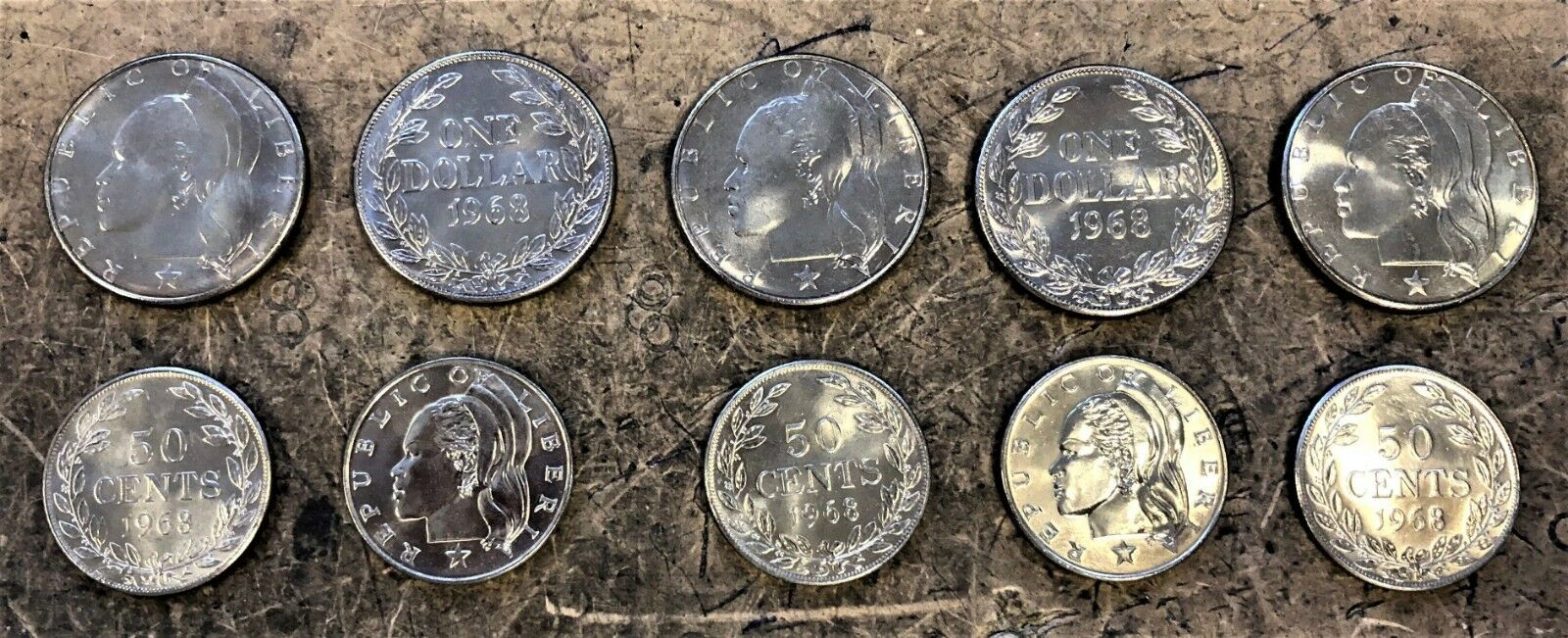 WHOLESALE 10 of EACH LIBERIA 50 CENTS & $1 COINS with FEMALE HEAD UNC of 1968