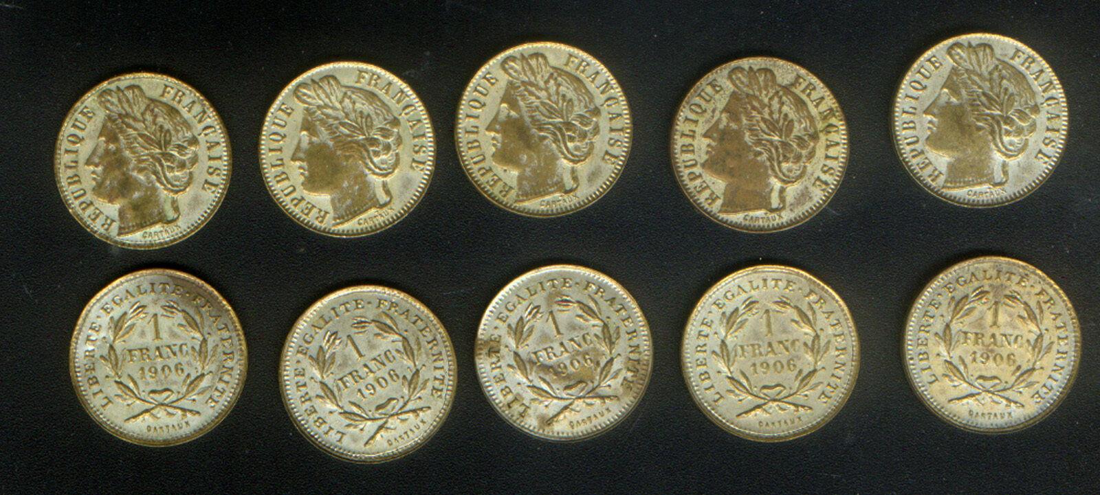 WHOLESALE LOT of FRANCE 10 FANTASY 1 FRANC COINS of 1906 FIBER - METAL CARTAUX