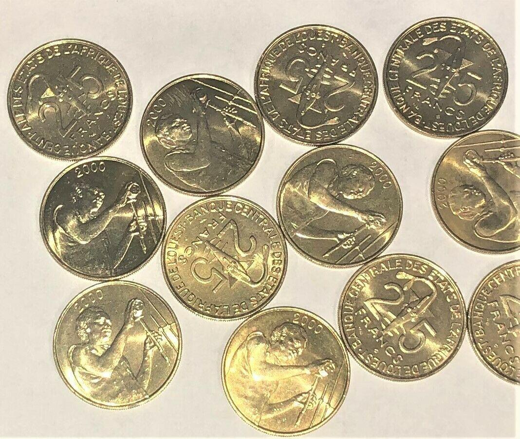 20 UNC WEST AFRICAN 25 FRANCS of MILLENNIUM 2000 KM# 9 SHOWS ASHANTI GOLD WEIGHT