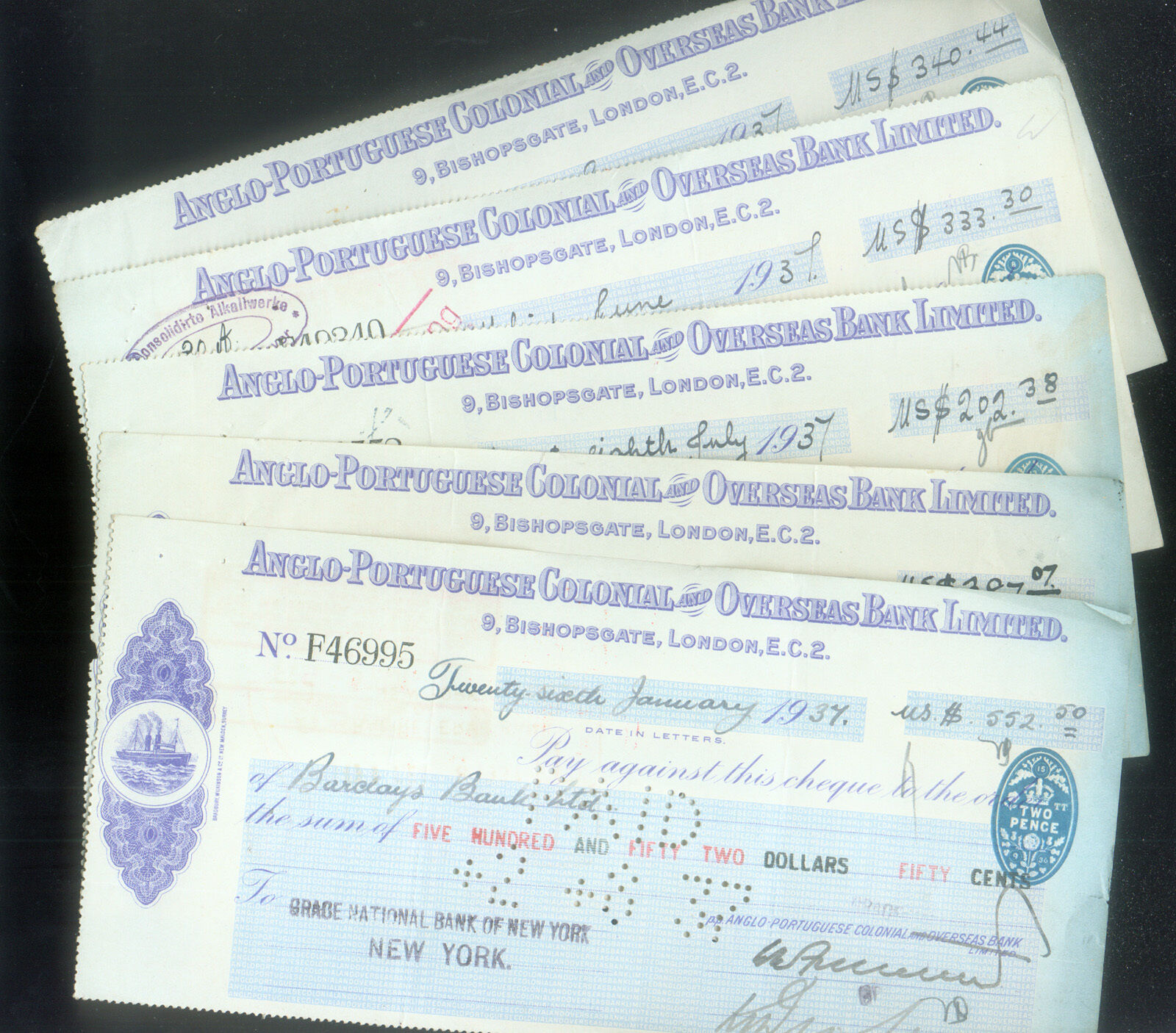 WHOLESALE TEN (10) CHECKS ANGLO PORTUGUESE COLONIAL & OVERSEAS BANK DATED 1930's