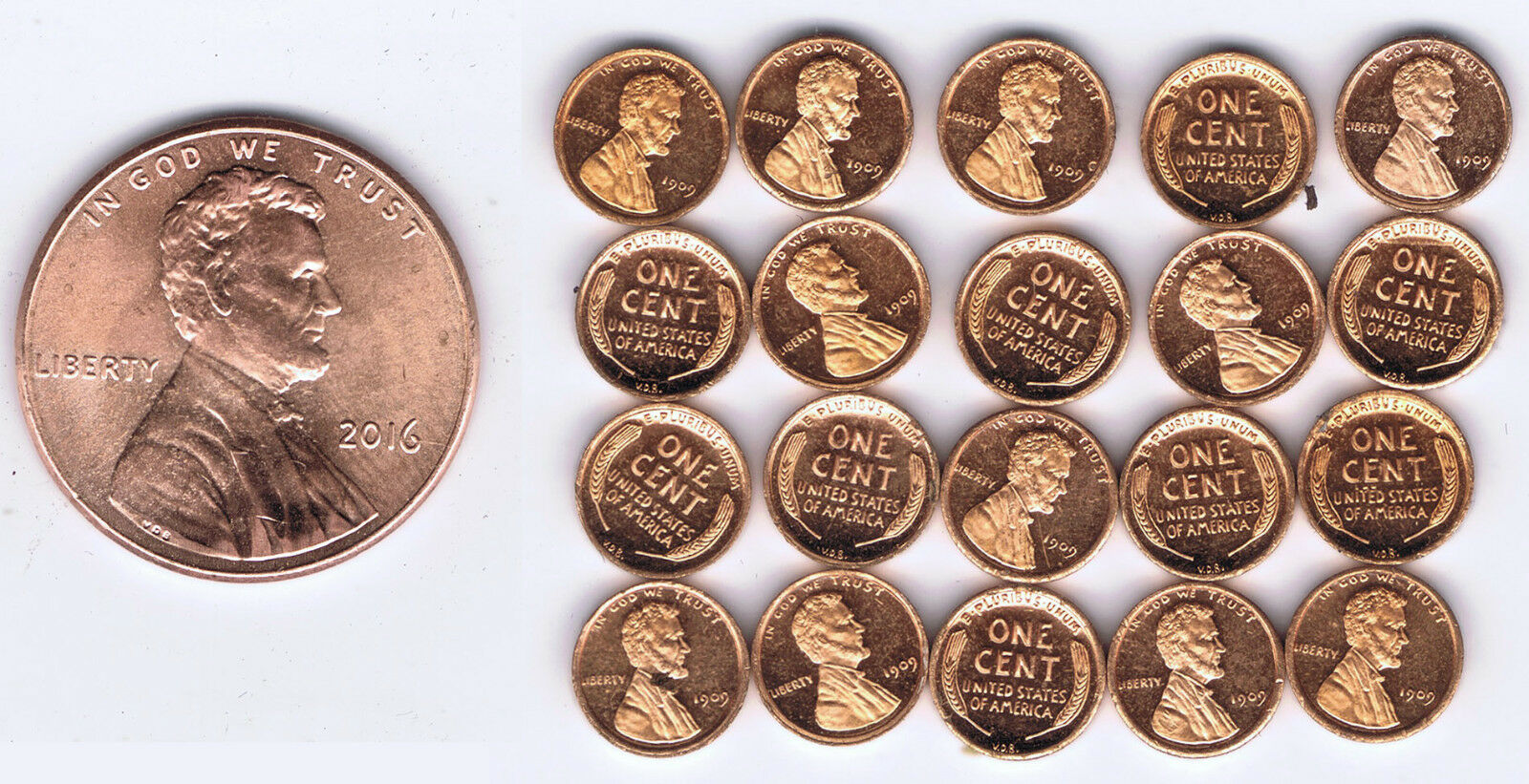 WHOLESALE USA 1909 VDB LINCOLN CENT x 20 PIECES FRANKLIN MINT HIGH QUALITY MINI