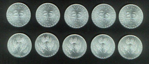 WHOLESALE 10 UNC MALI RICE PLANT 25 FRANCS COINS of 1976 HIGH CAT VALUE KM # 12